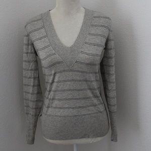 Banana Republic Grey Stripe Deep V Sweater S NWT